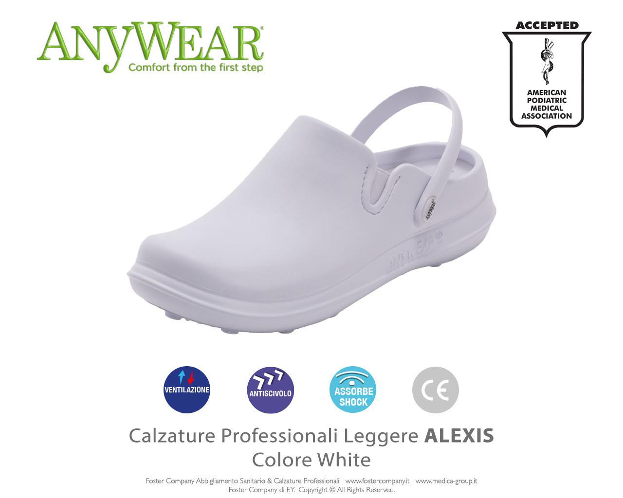 Calzature Professionali Anywear ALEXIS Colore White - FINE SERIE