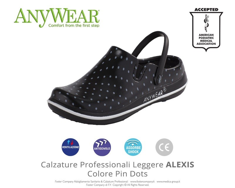 Calzature Professionali Anywear ALEXIS Colore Pin Dots FINE SERIE
