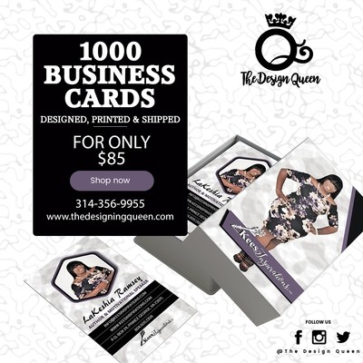 1000 Business Card Design, Printing & Shipping