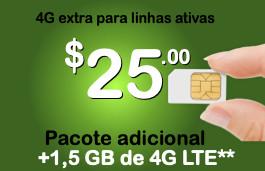 Pacote adicional de 1,5 GB para serviços Proximo/SIMPLE Mobile ativos