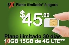 PROMO Chip Proximo + pacote ilimitado 30 dias com 15 Giga de 4G LTE (Estados Unidos+países selecionados da América Latina)