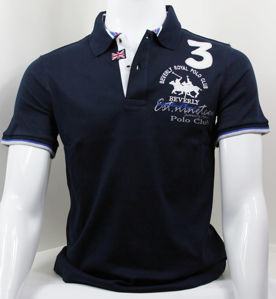 Pure Coton Tissue Polo Marine Col Bleu byfvY67g