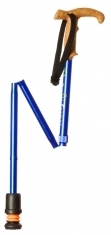 Flexyfoot Faltbarer Wanderstock mit Korkgriff, kurze Ausführung  - blau