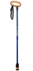 Flexyfoot Teleskopstock mit Easygripp, kurze Aussführung - blau