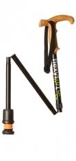 Flexyfoot Faltbarer Wanderstock mit Korkgriff, lange Ausführung  - schwarz