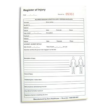 Register of Injuries Pad 25pg duplicate