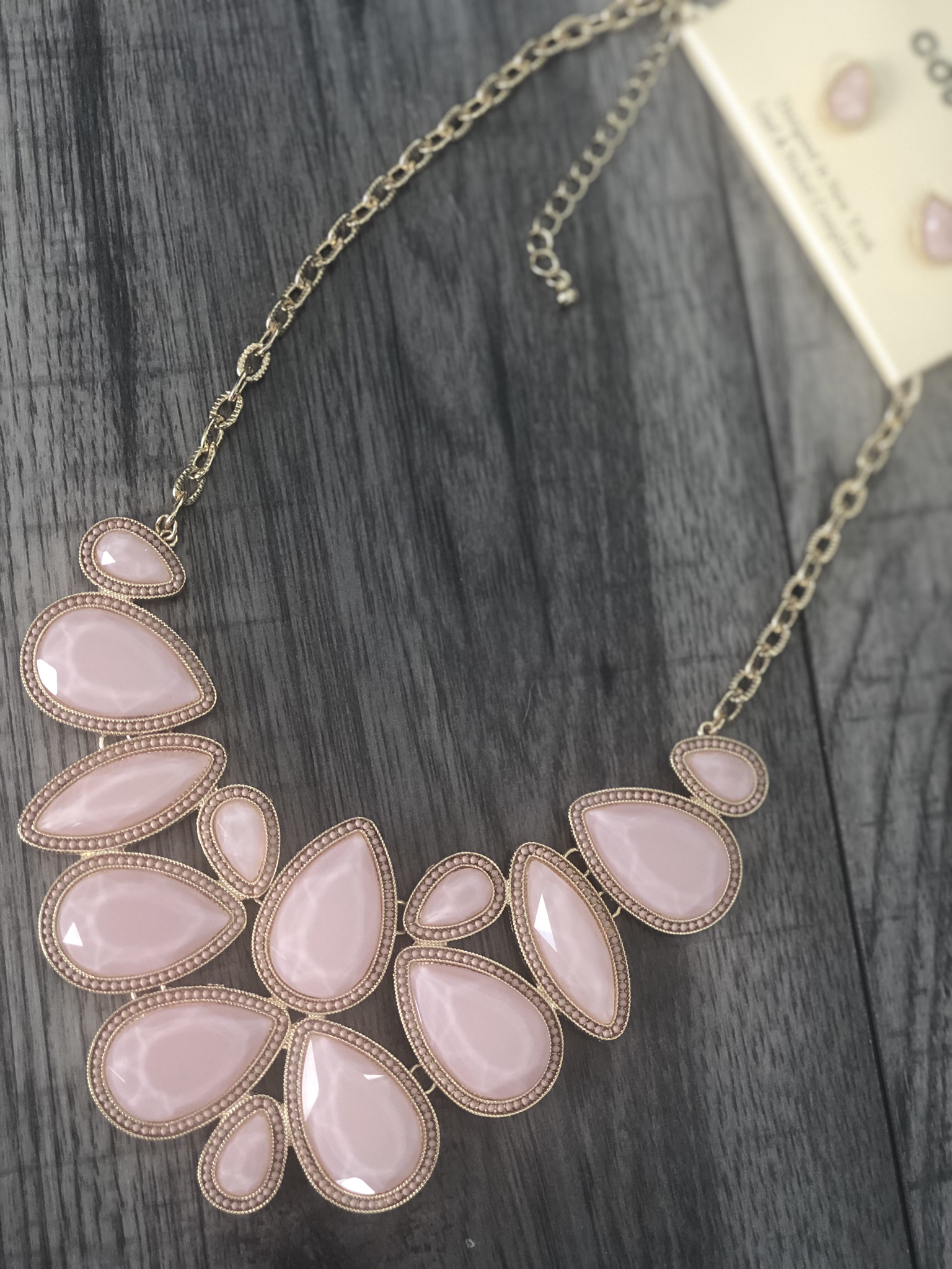 Blush Beauty Statement Necklace with Earrings
