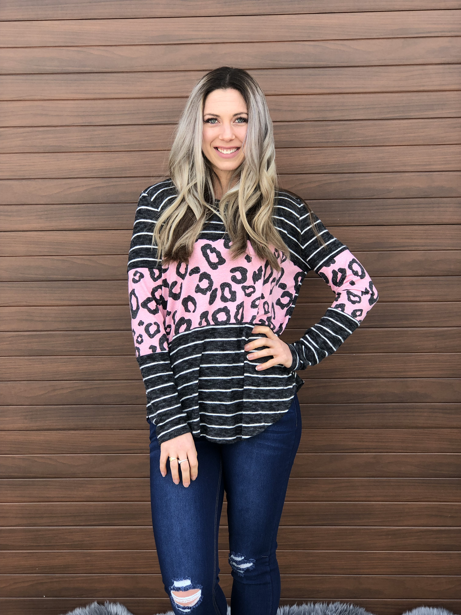 Pink Leopard Color Block Sweater 61