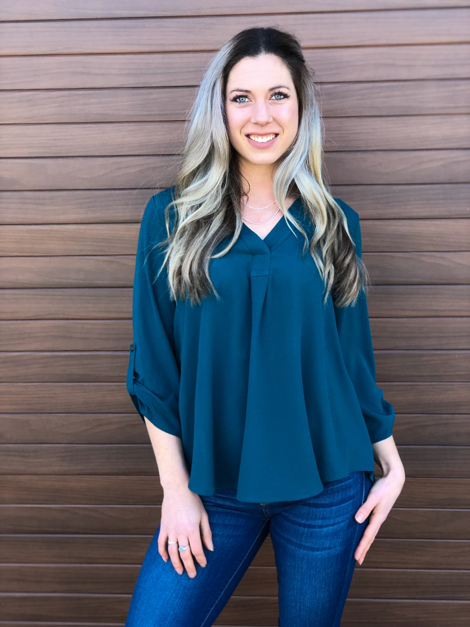 The Tenley Teal Blouse 981991