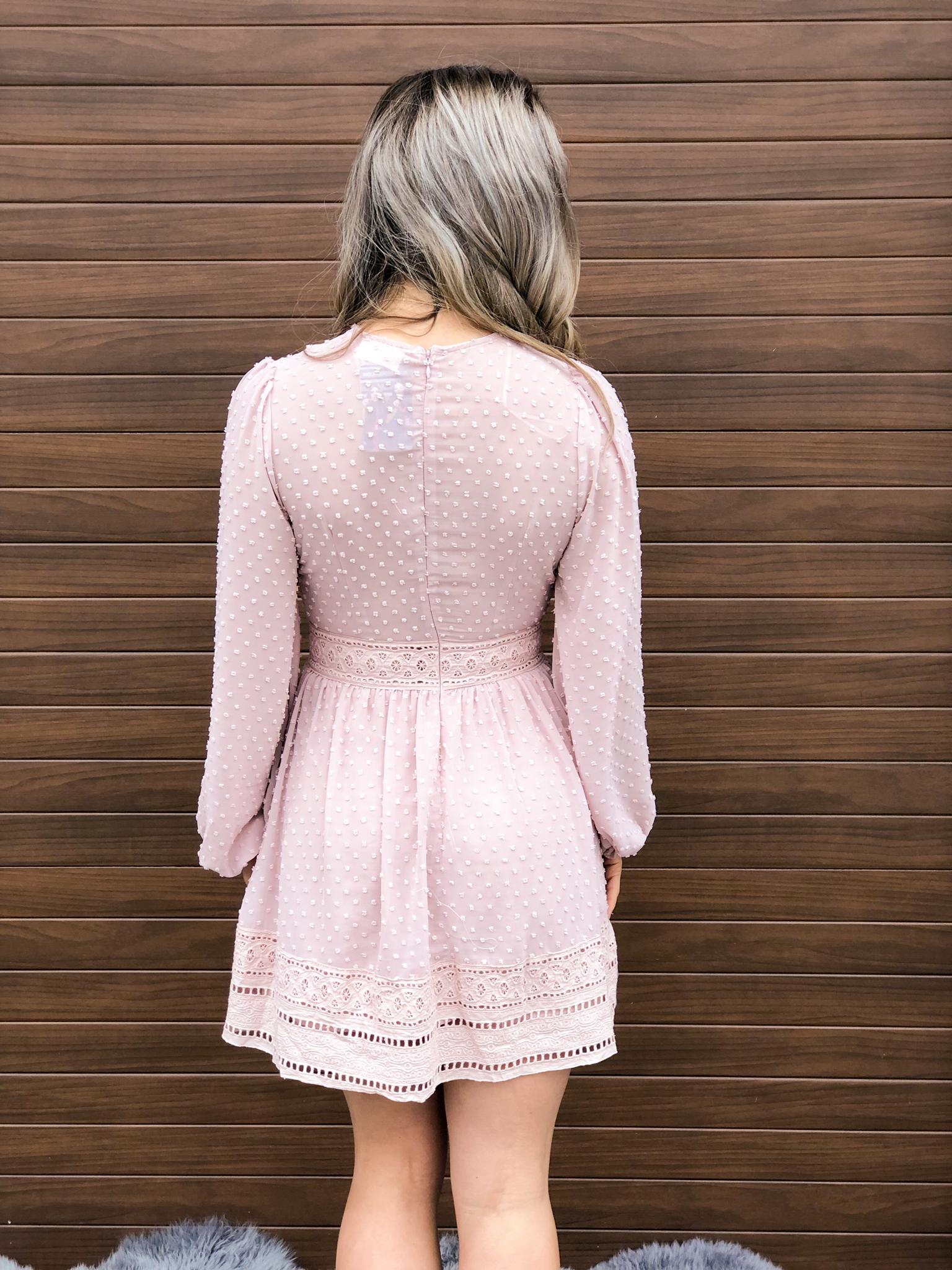 Deep Plunge Blush Dress