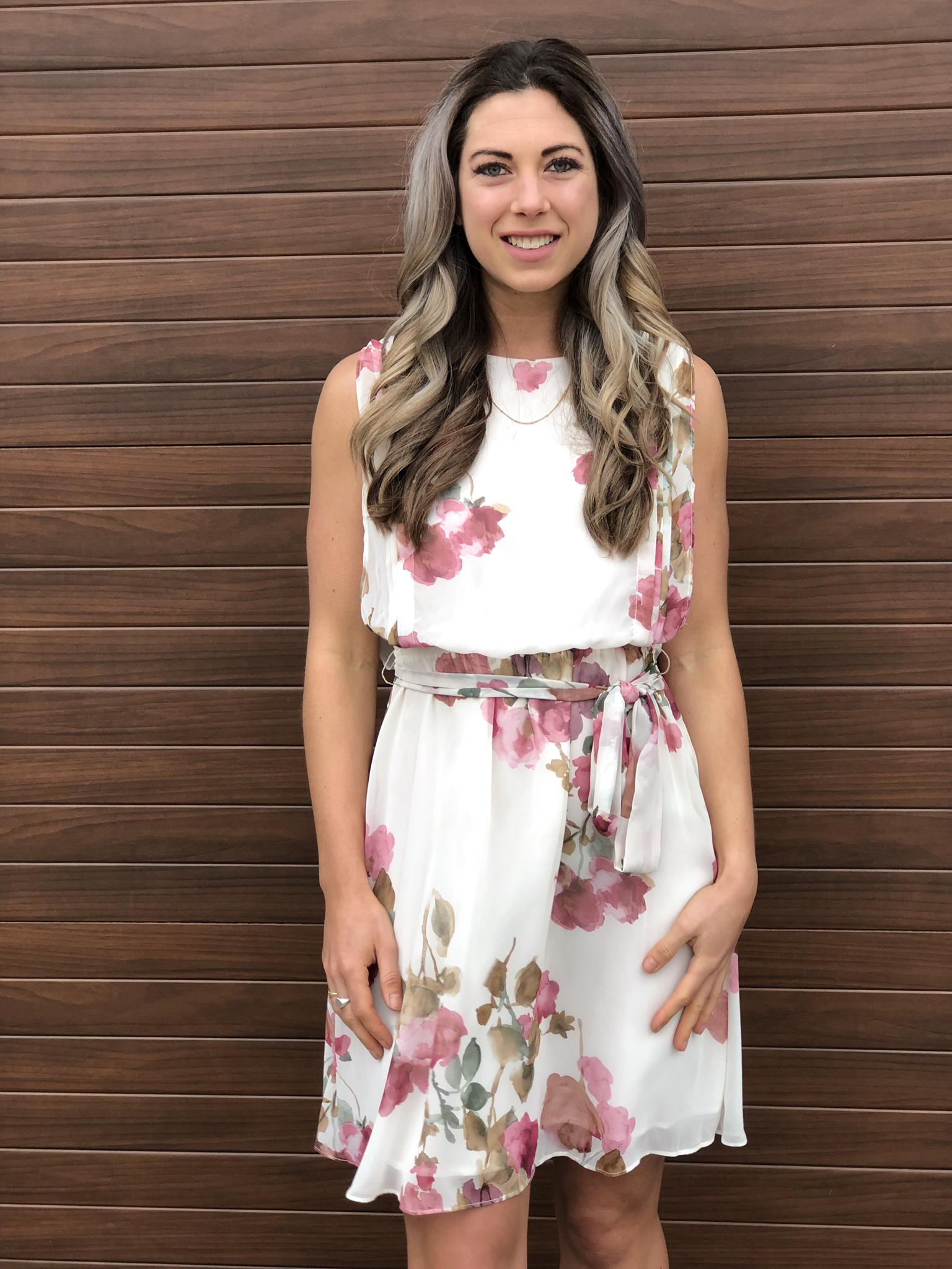 Ivory Blush Floral Dress 82030