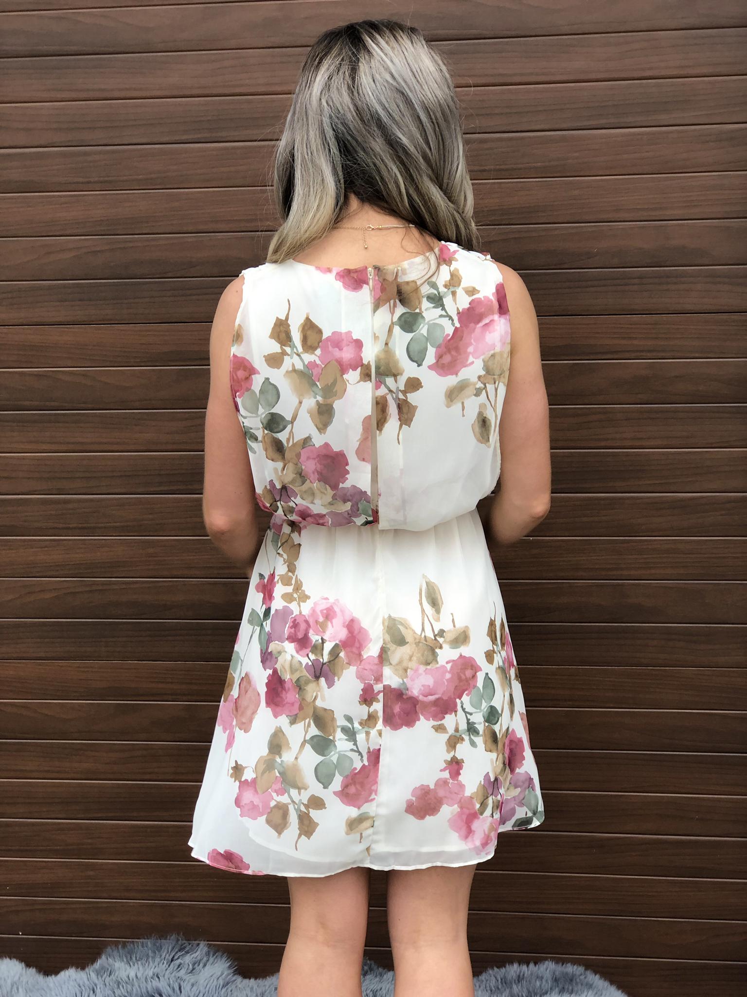 Ivory Blush Floral Dress