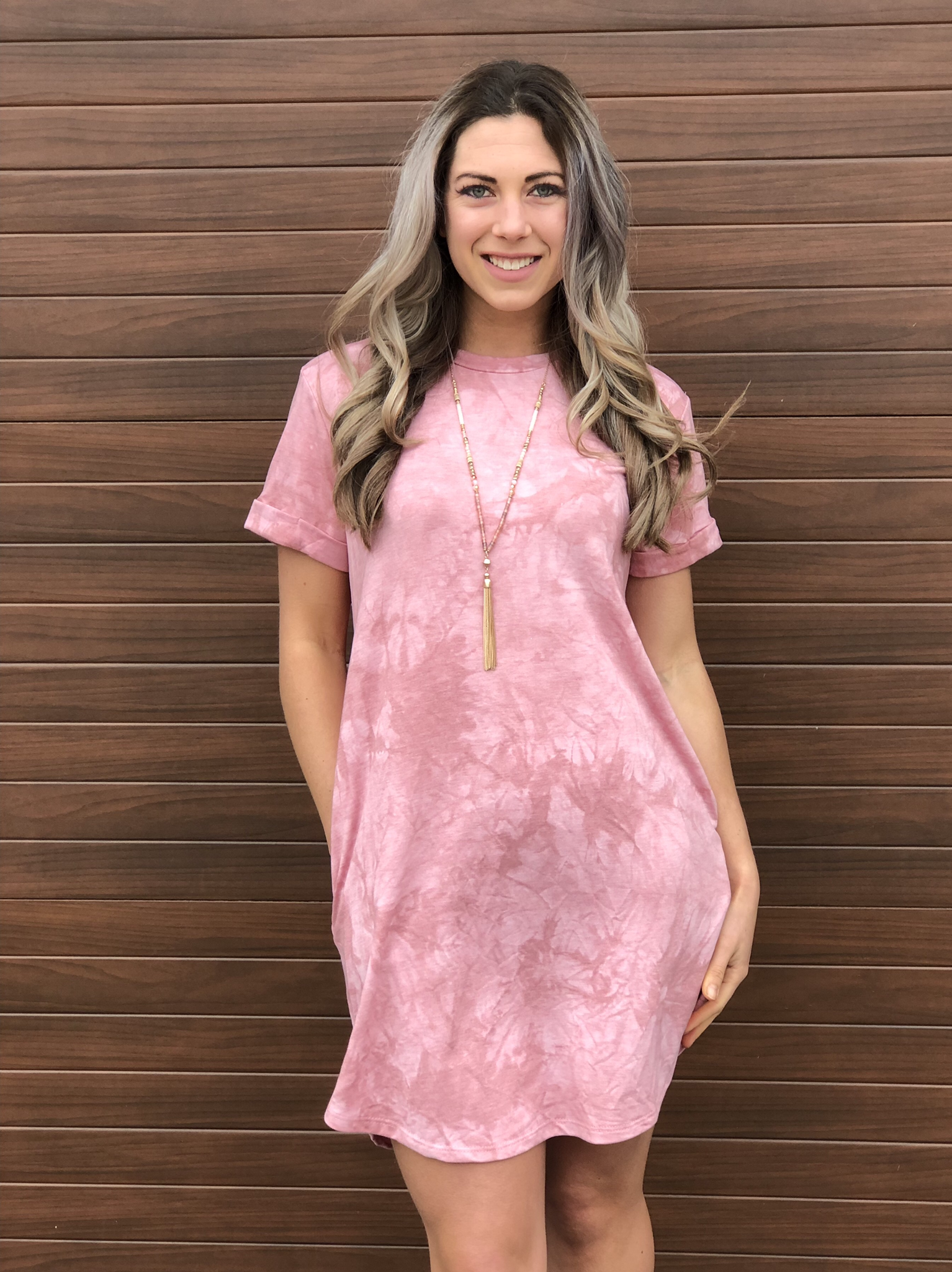 Pink Acid Wash Tshirt Dress 82003