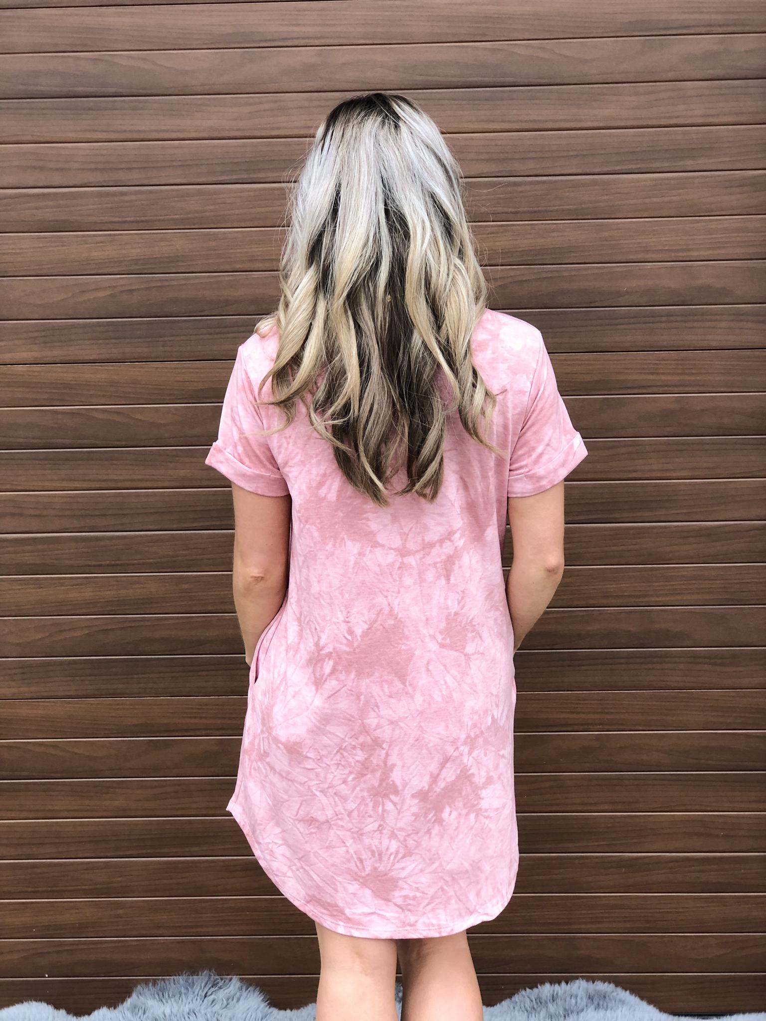 Pink Acid Wash Tshirt Dress