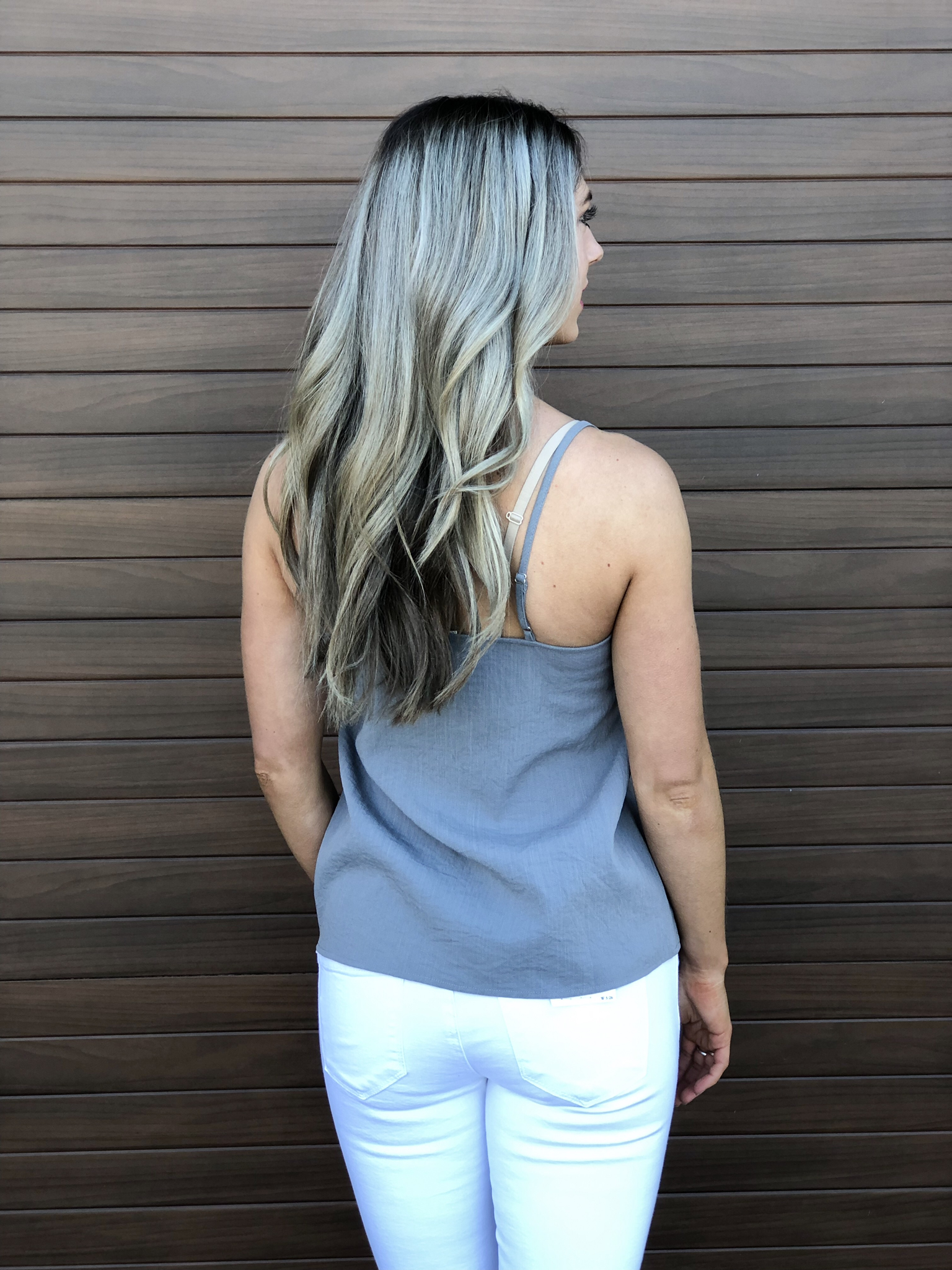 Blue Tank with Front Tie