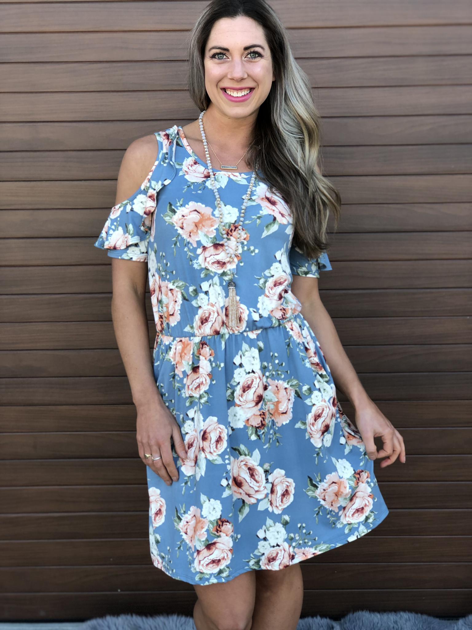 Blue Floral Cold Shoulder Dress 82087