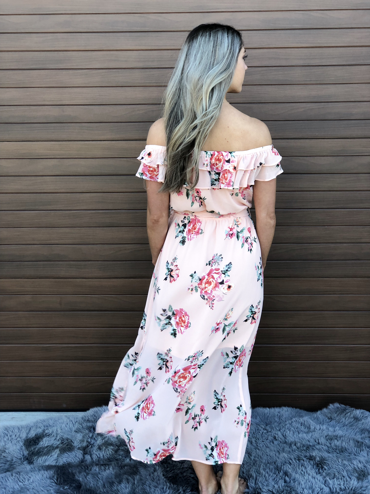 Coral Floral Ruffle Dress