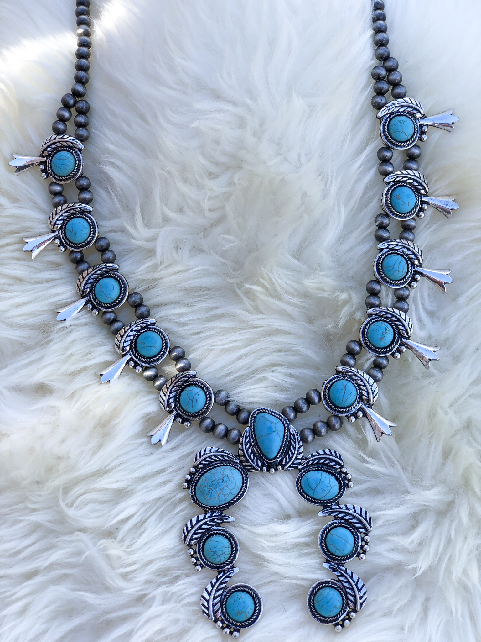 The Spur Squash and necklace set- Turquoise N5