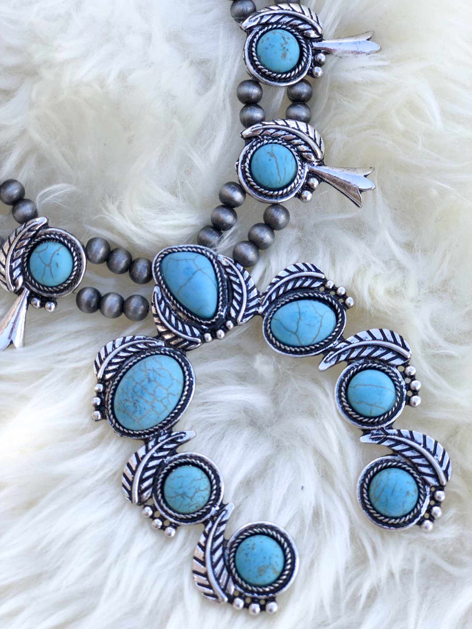 The Spur Squash and necklace set- Turquoise