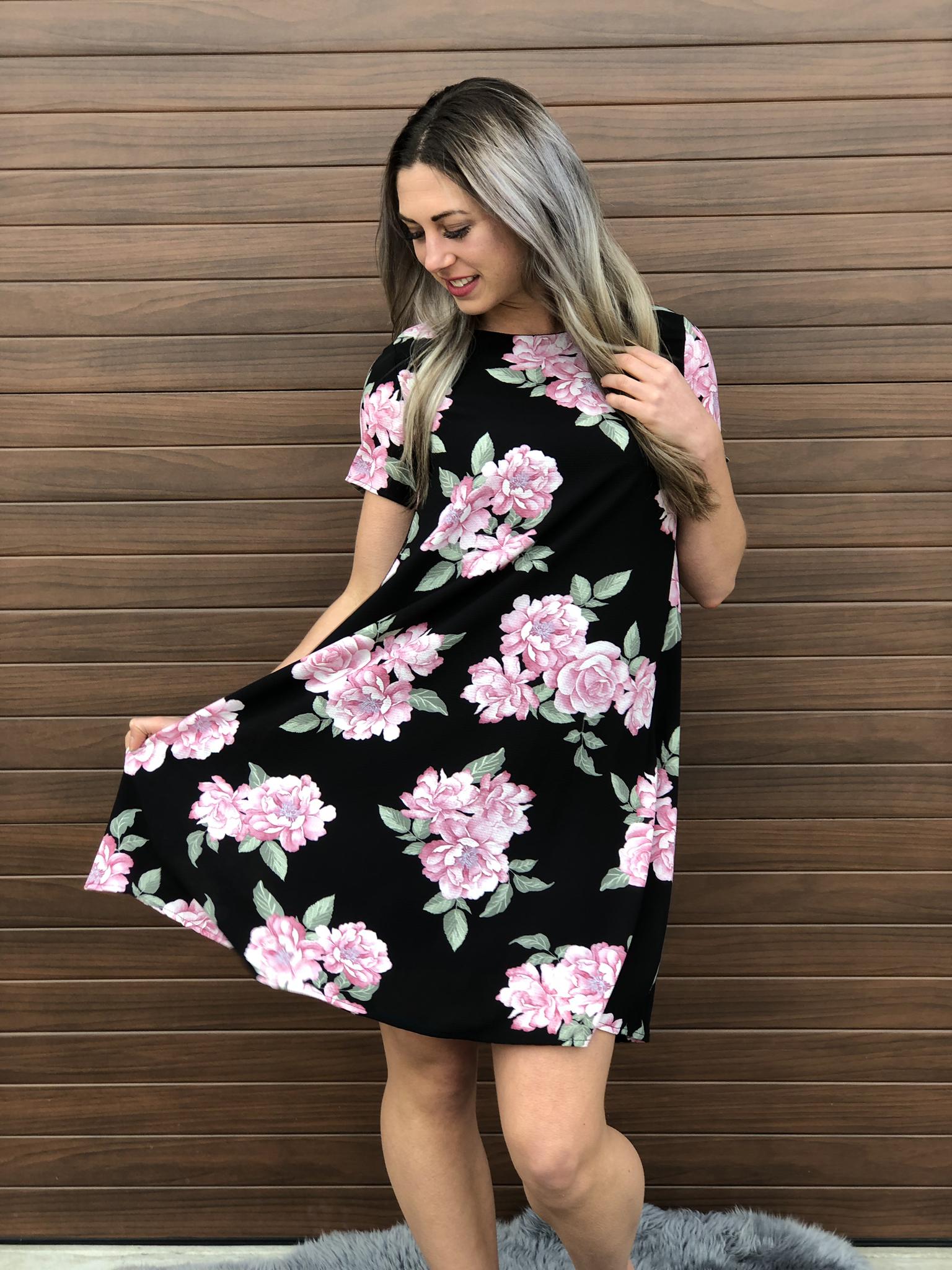 Black Floral Dress 82166