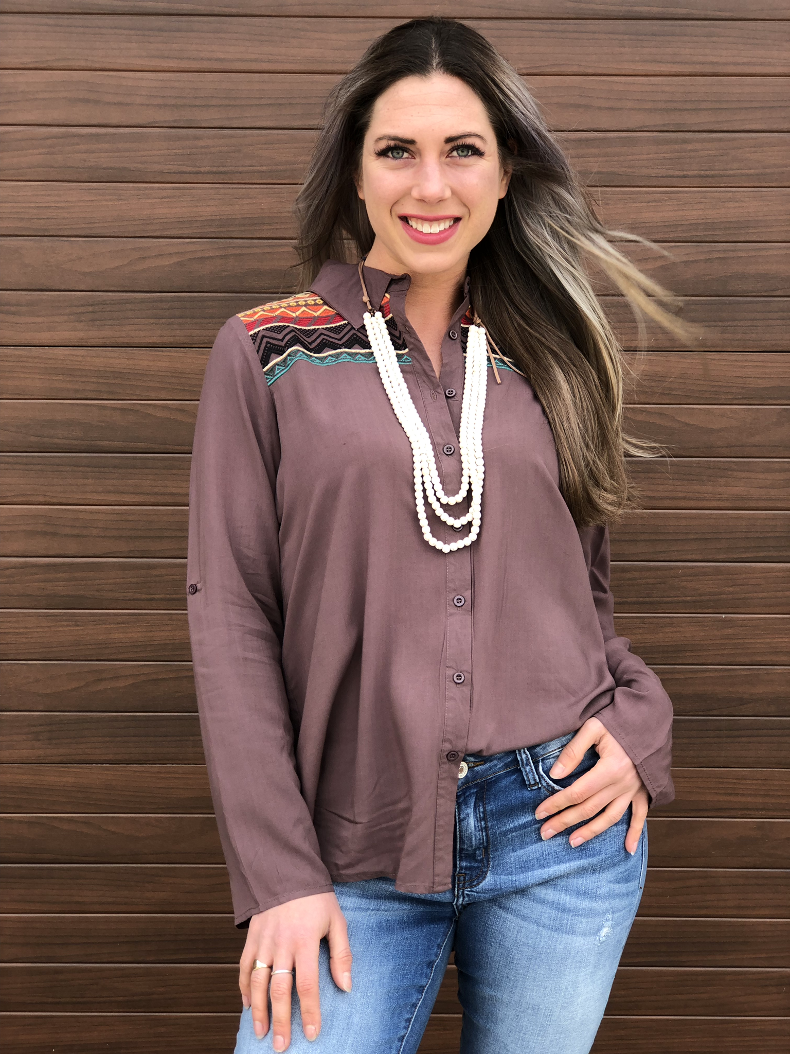 Brown Embroidered Button Up Top 82199