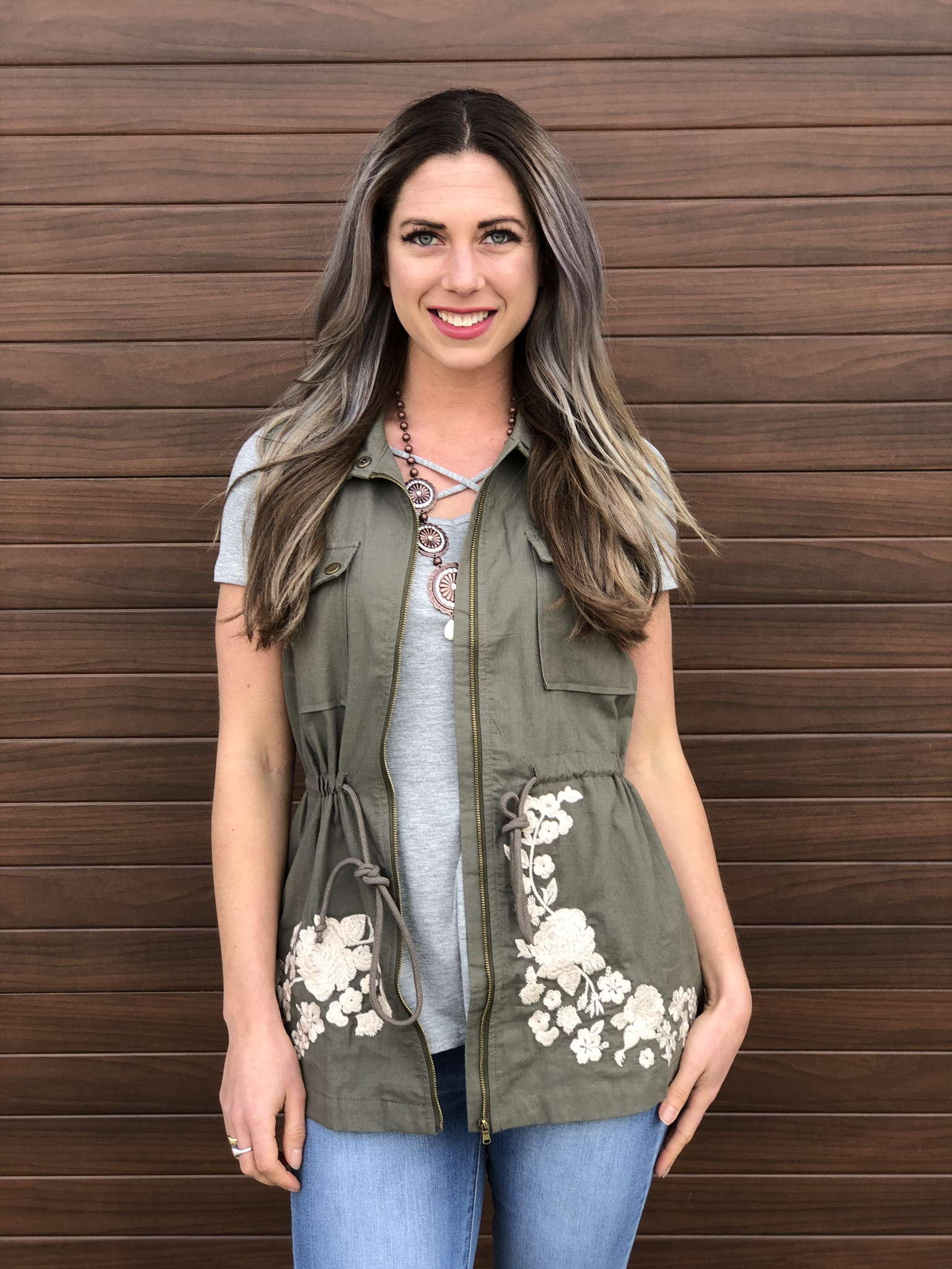 Olive Embroidered Vest - SHOW BEST SELLER  - 2 medium left 82191