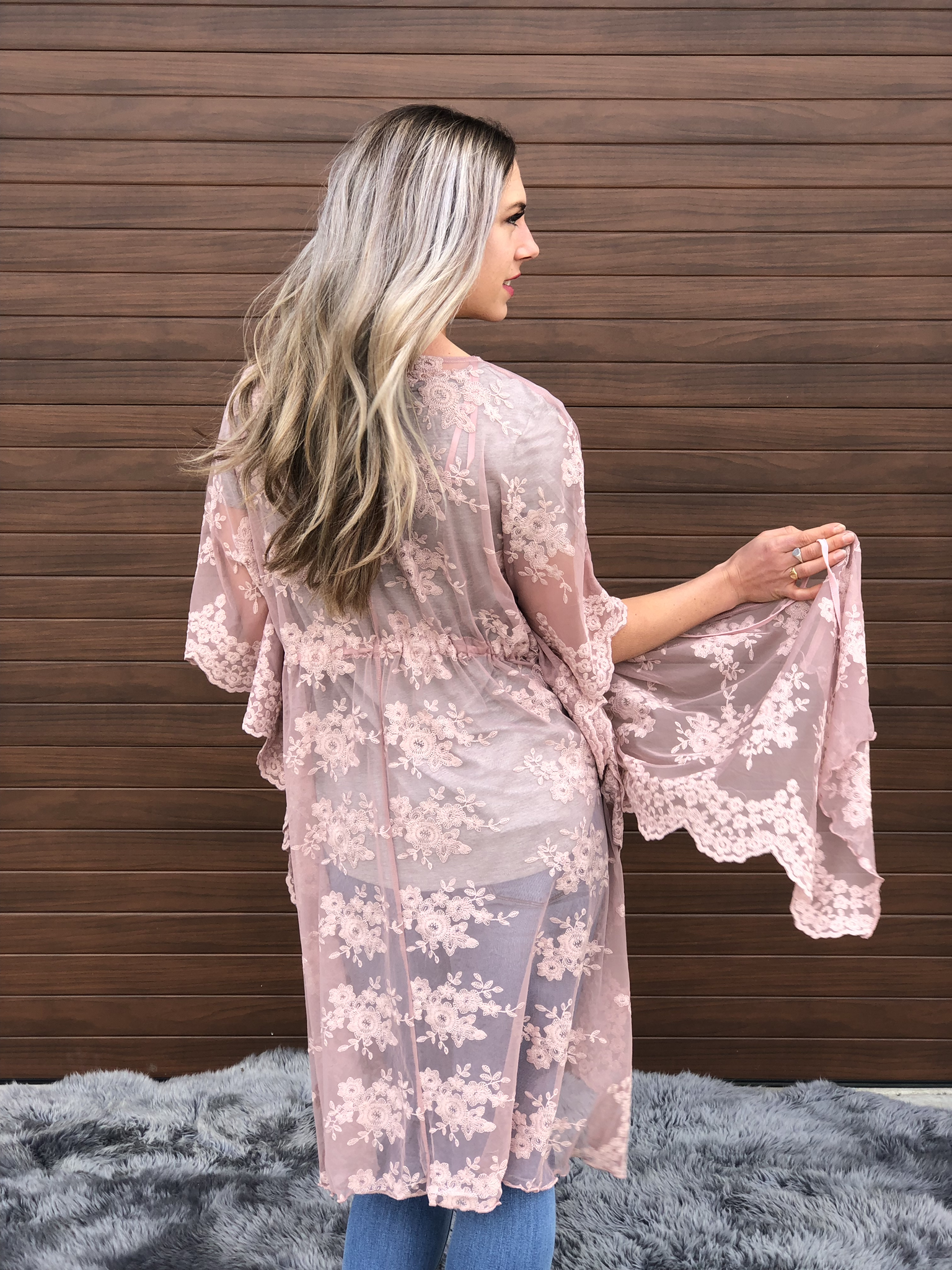 The Clara Lace Cardigan - Blush 82242
