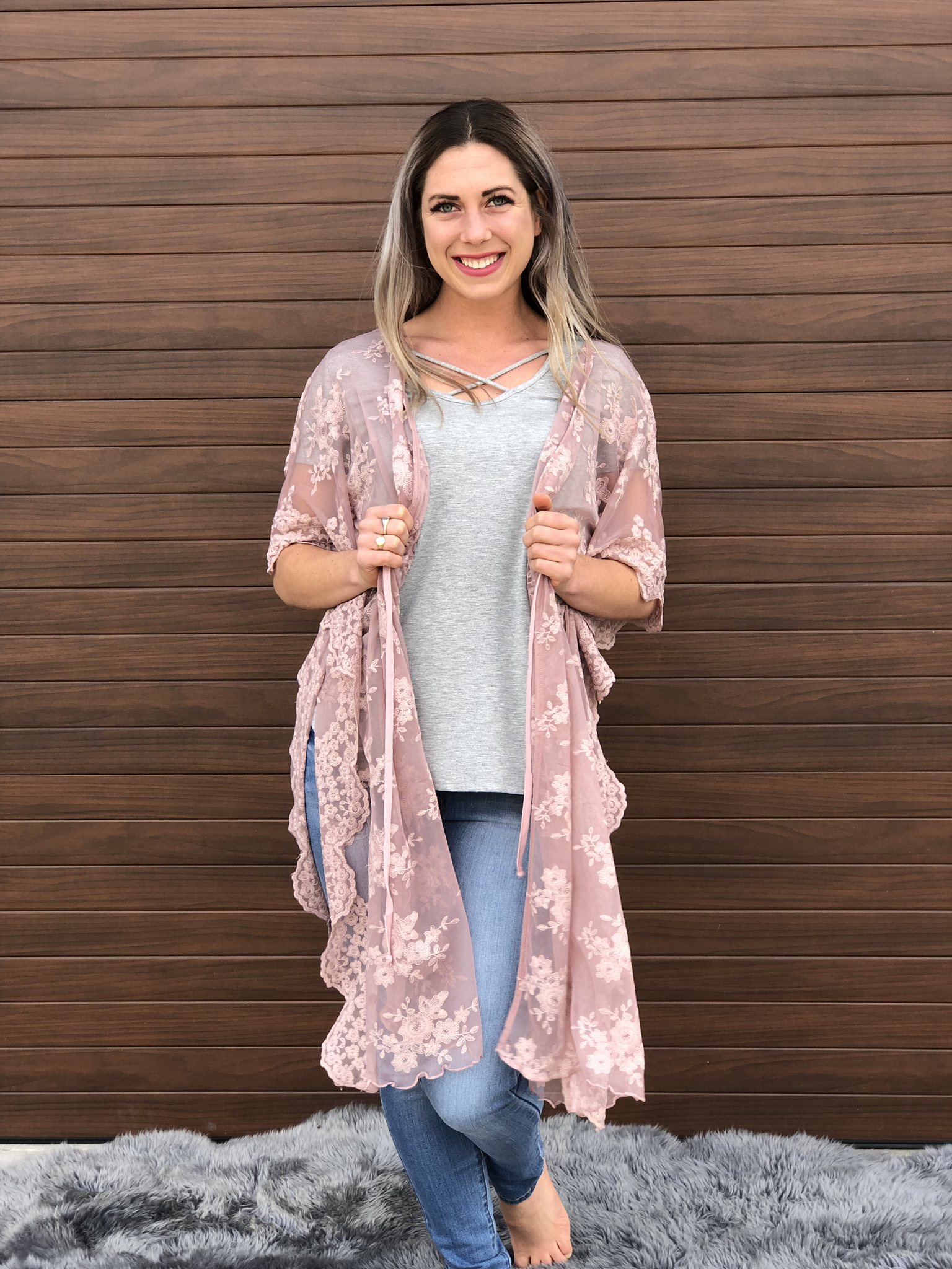 The Clara Lace Cardigan - Blush