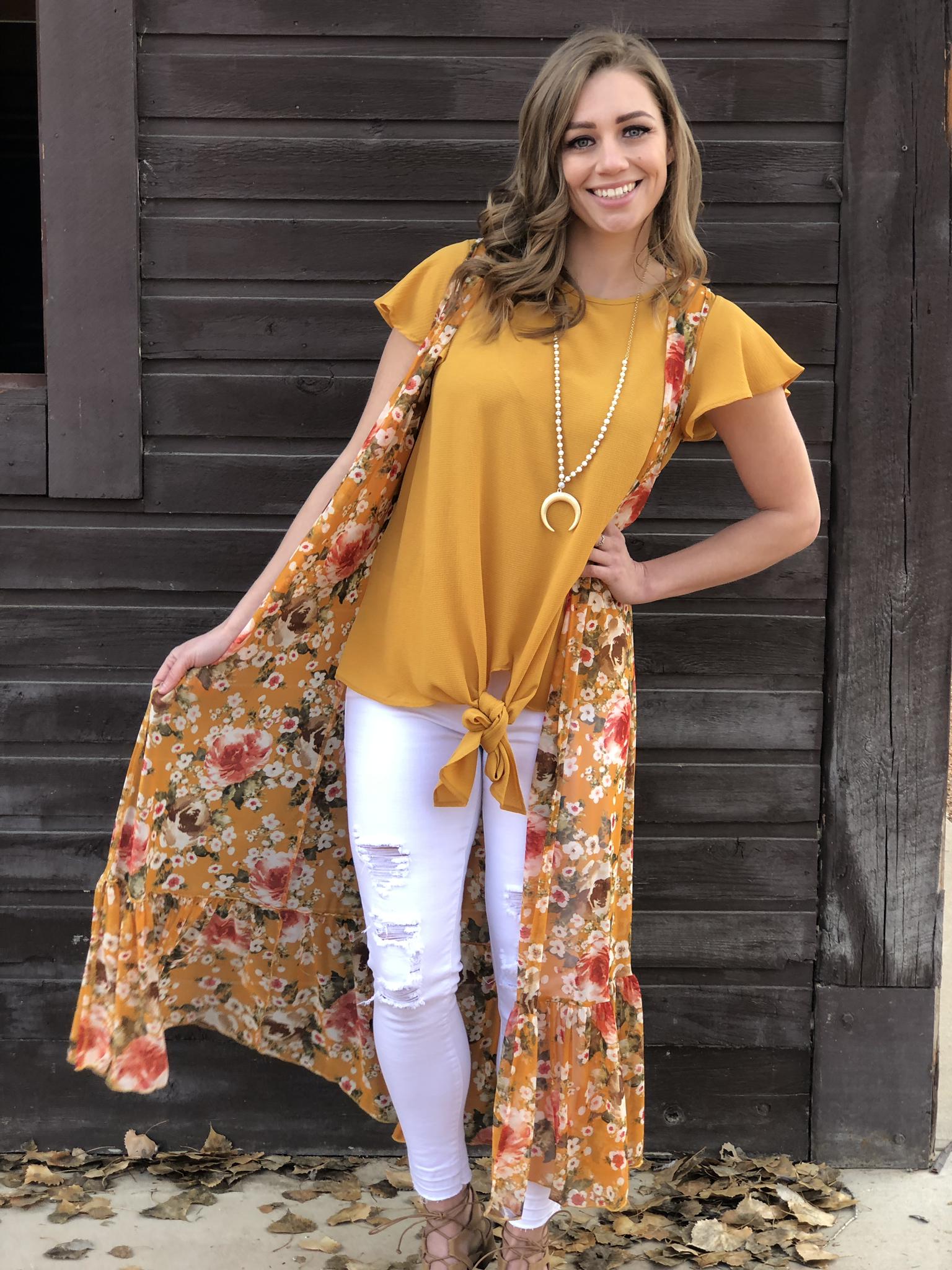 Mustard floral Vest 822611