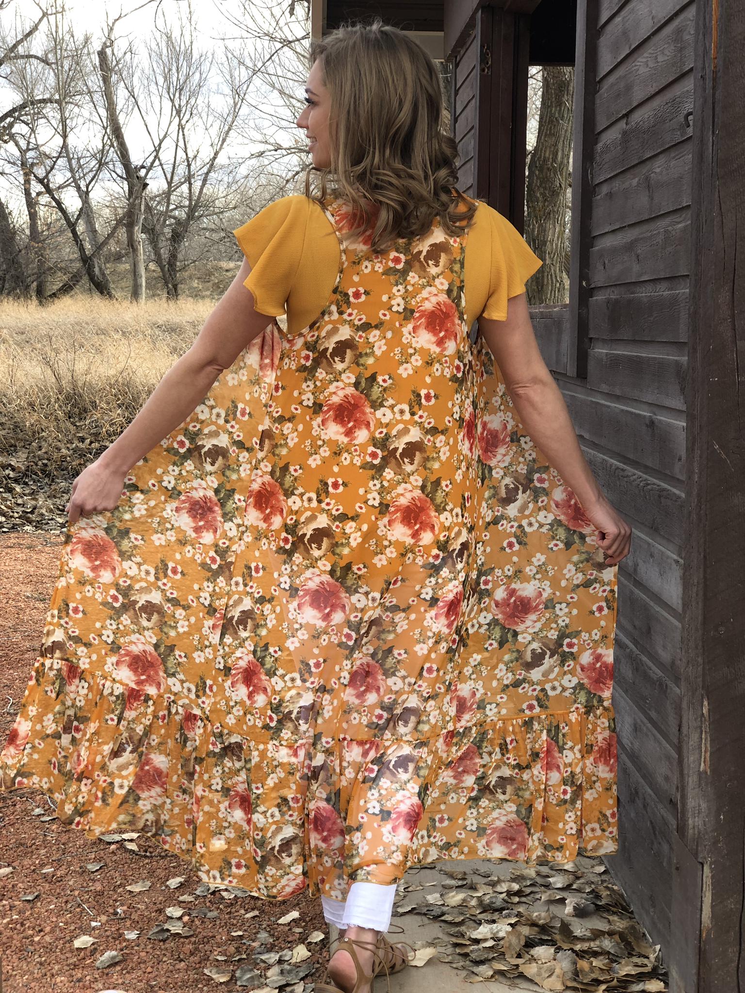 Mustard floral Vest