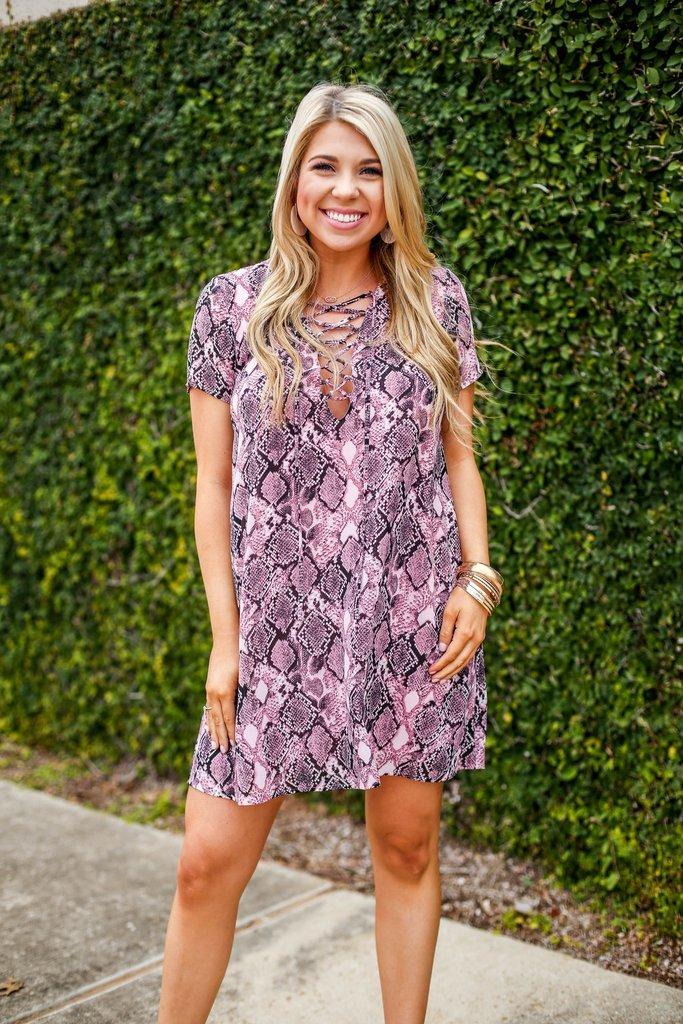 Blush Snakeskin Dress 82265