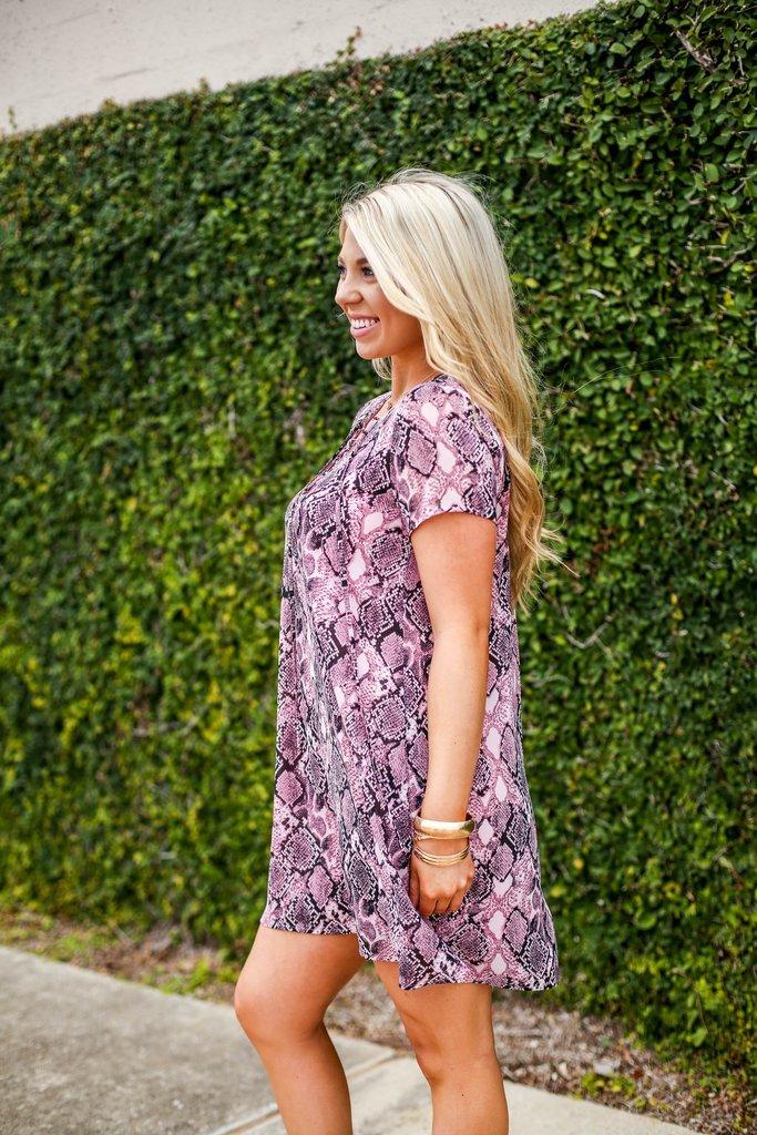 Blush Snakeskin Dress