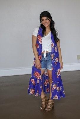 Royal Blue Floral Ruffle Vest