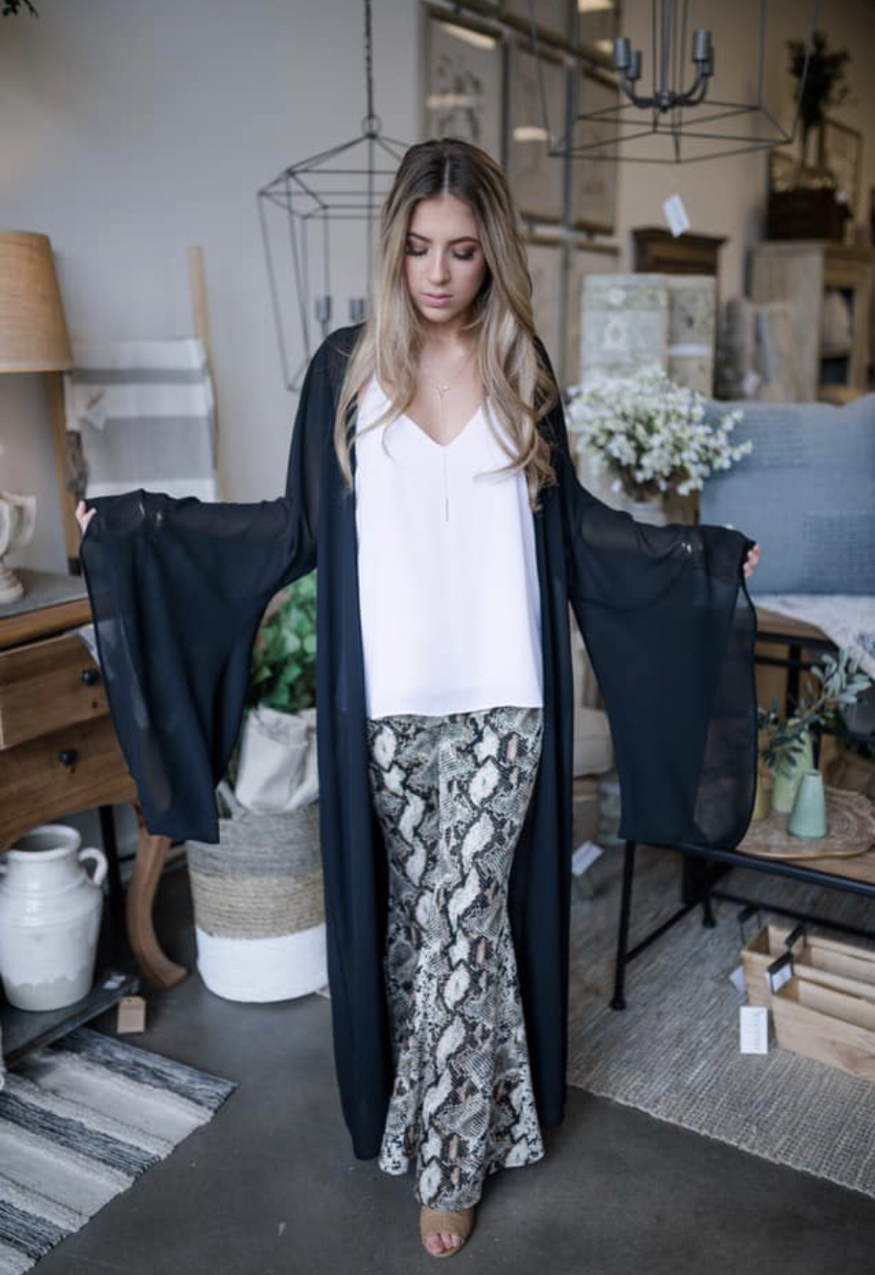 Snakeskin Bell Bottom Pants