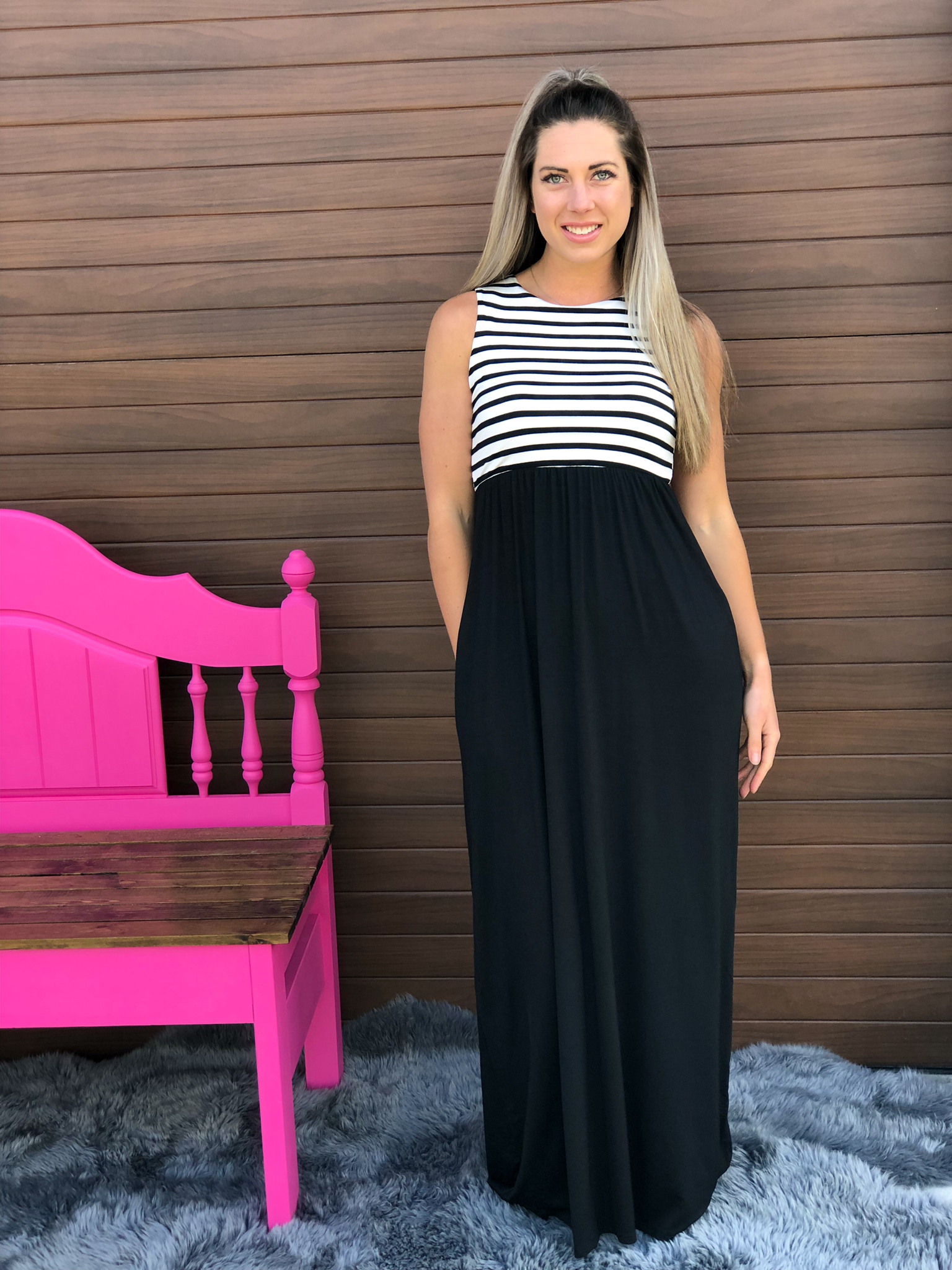 Long Black and White Stripe Maxi Dress 82420