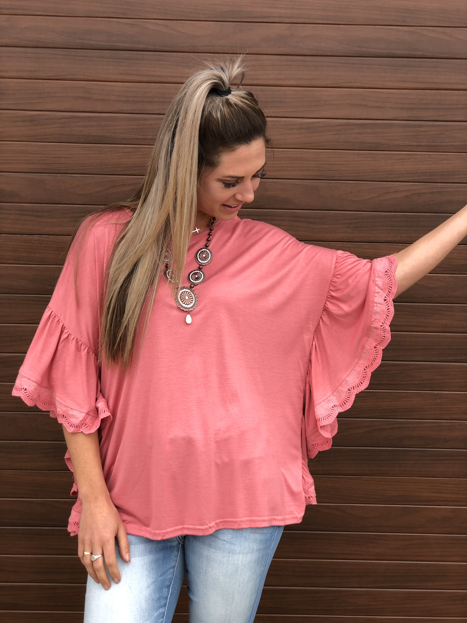 Coral Lace Ruffle Top
