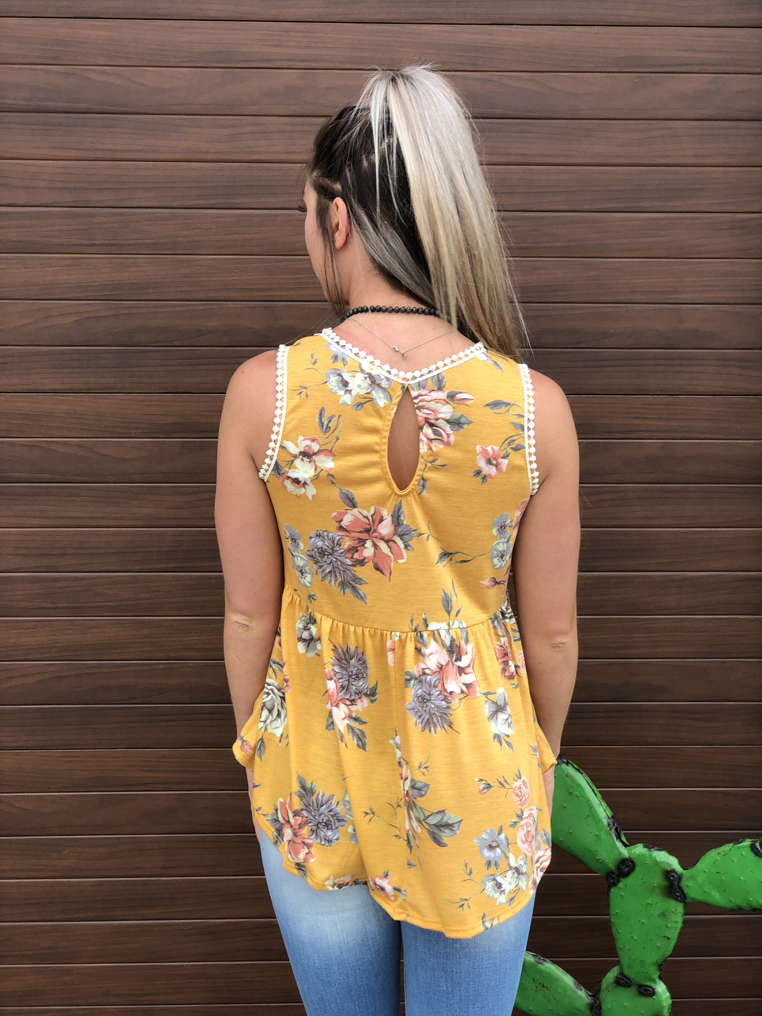 Floral Baby Doll Style Tank - Mustard