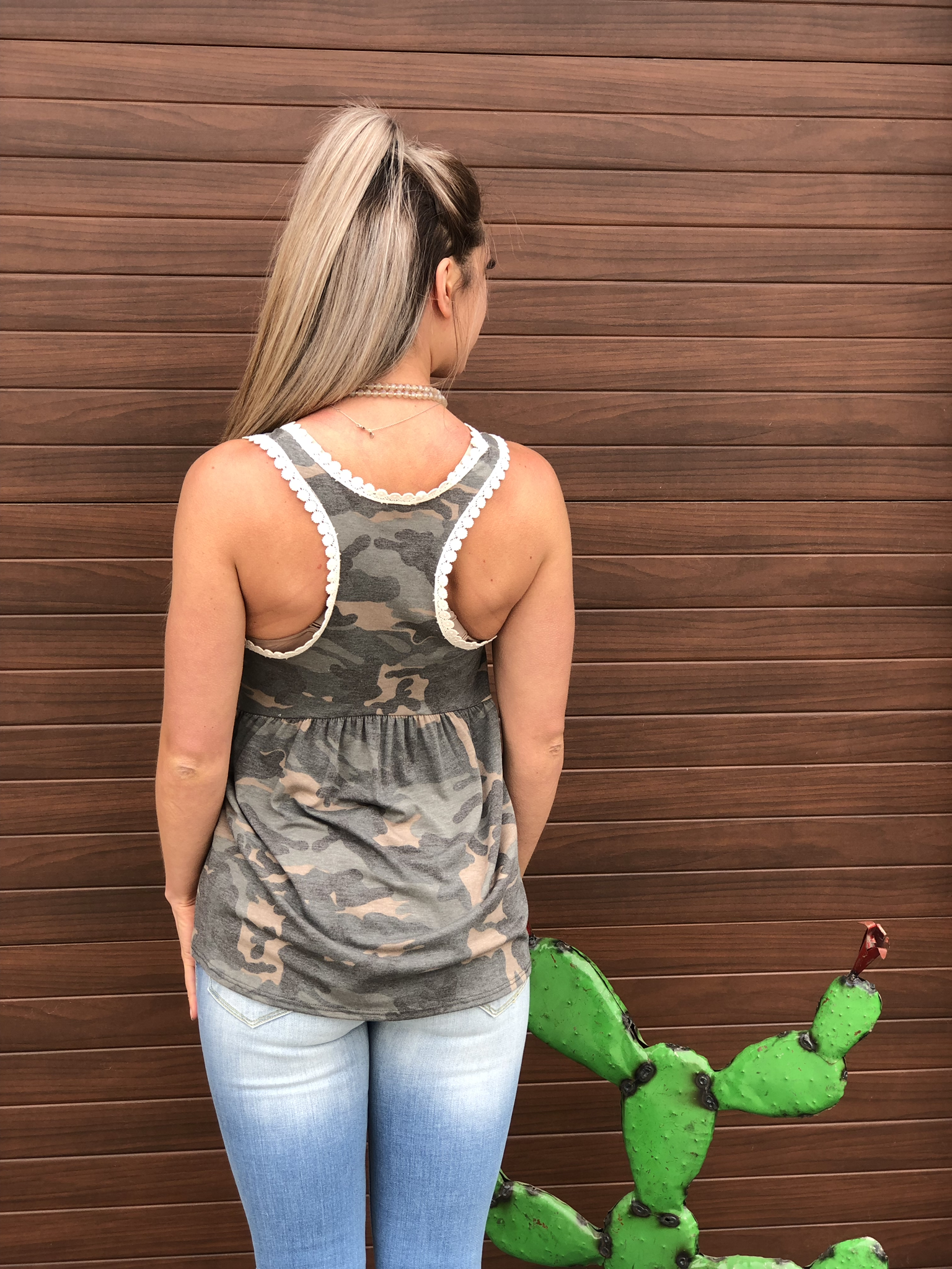 Camo Baby Doll Style Top