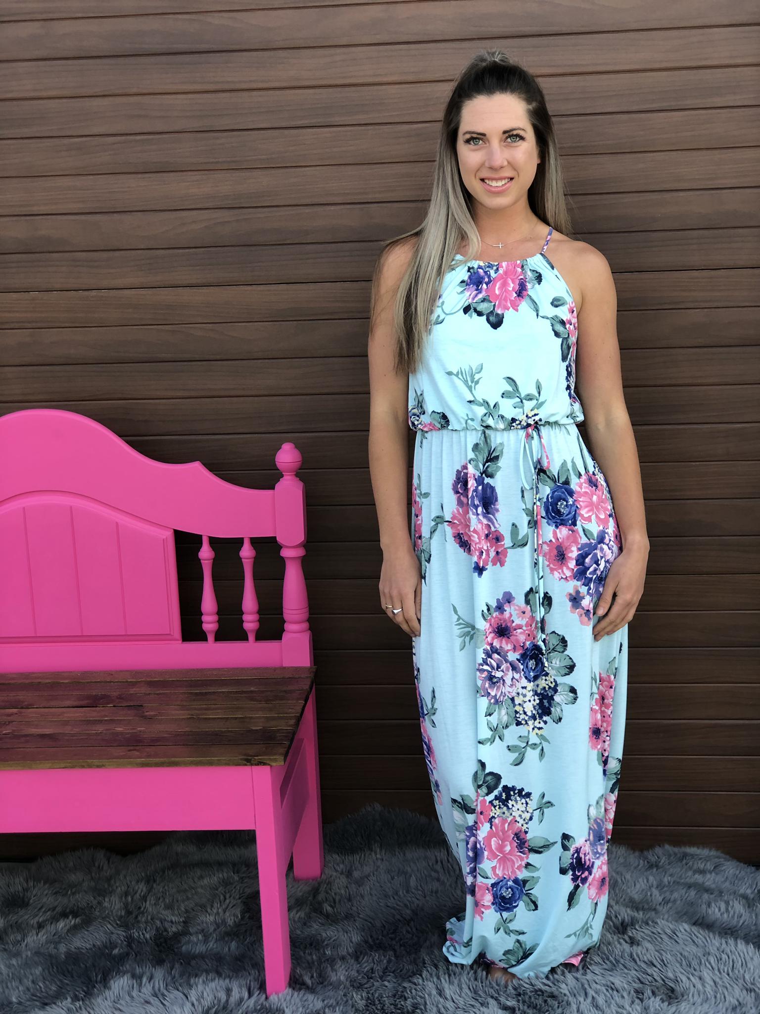 Mint Floral Maxi Dress 82432