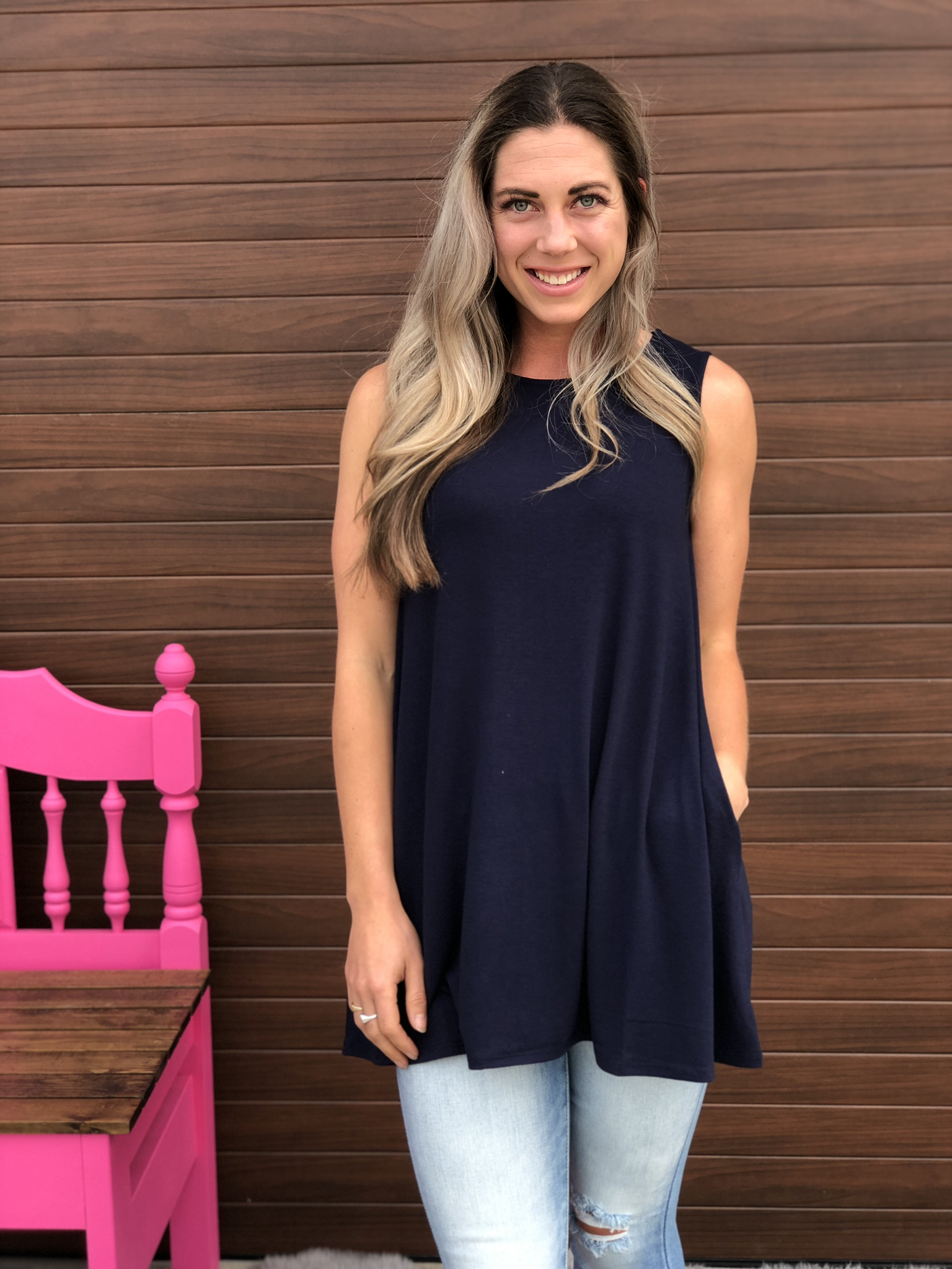 Navy Tunic Tank with Pockets 82494
