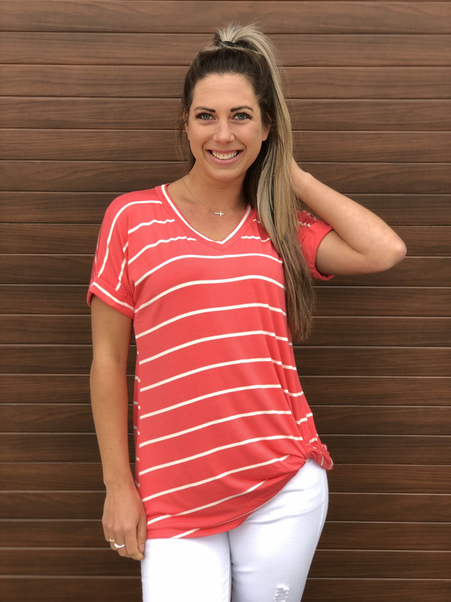 Coral striped top 82509