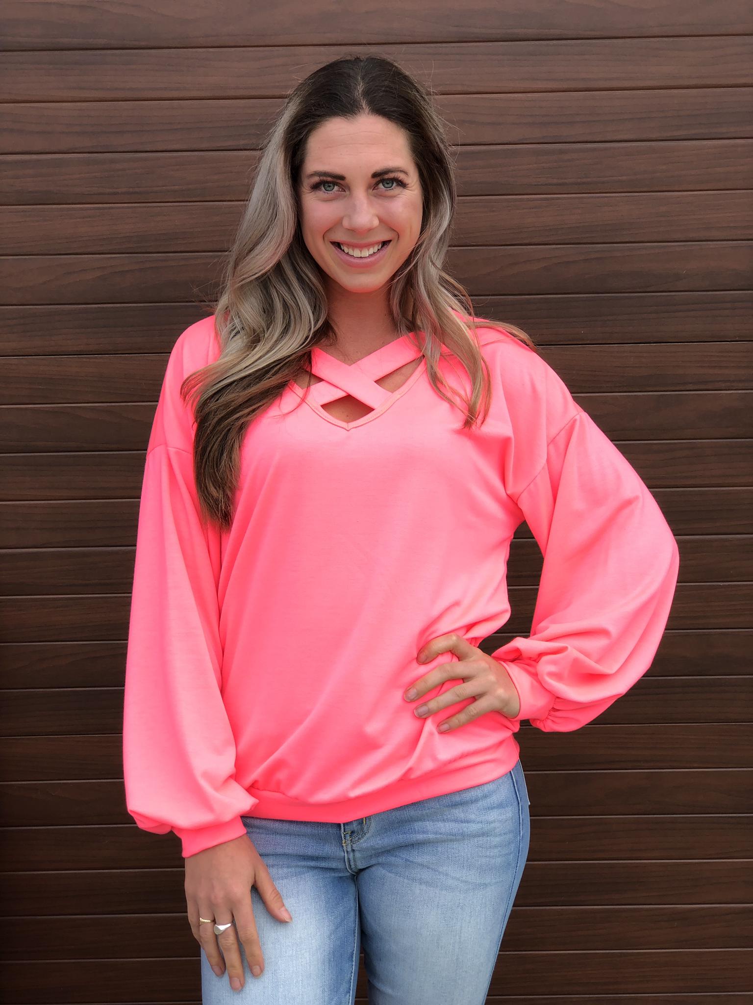 Spring Criss Cross Sweatshirt - Neon Pink 82591
