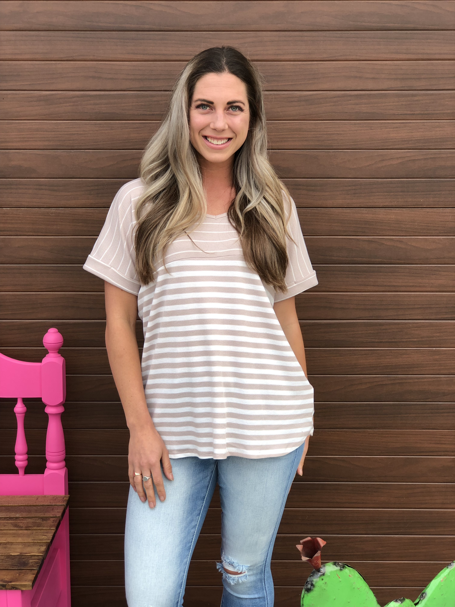 Taupe Stripe Top 82563