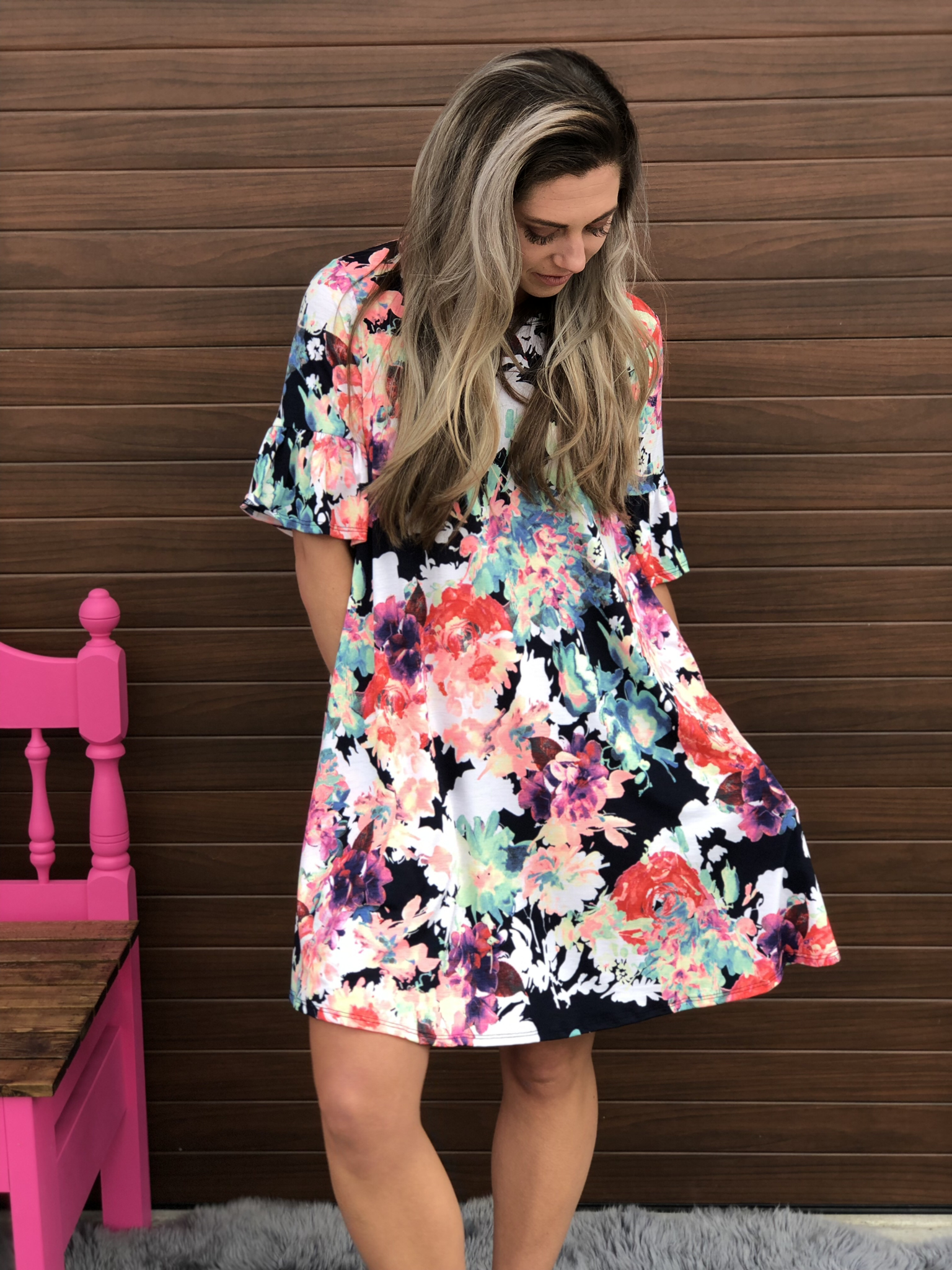 Watercolor Dress with Ruffle Sleeve 82603