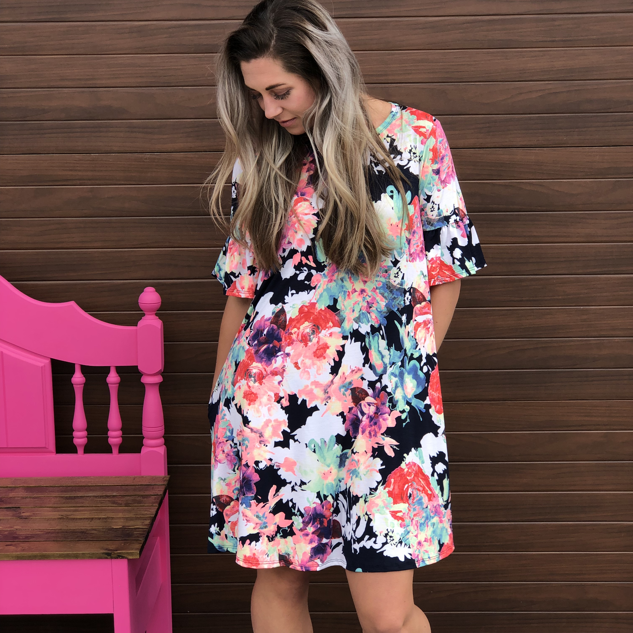 Watercolor Dress with Ruffle Sleeve