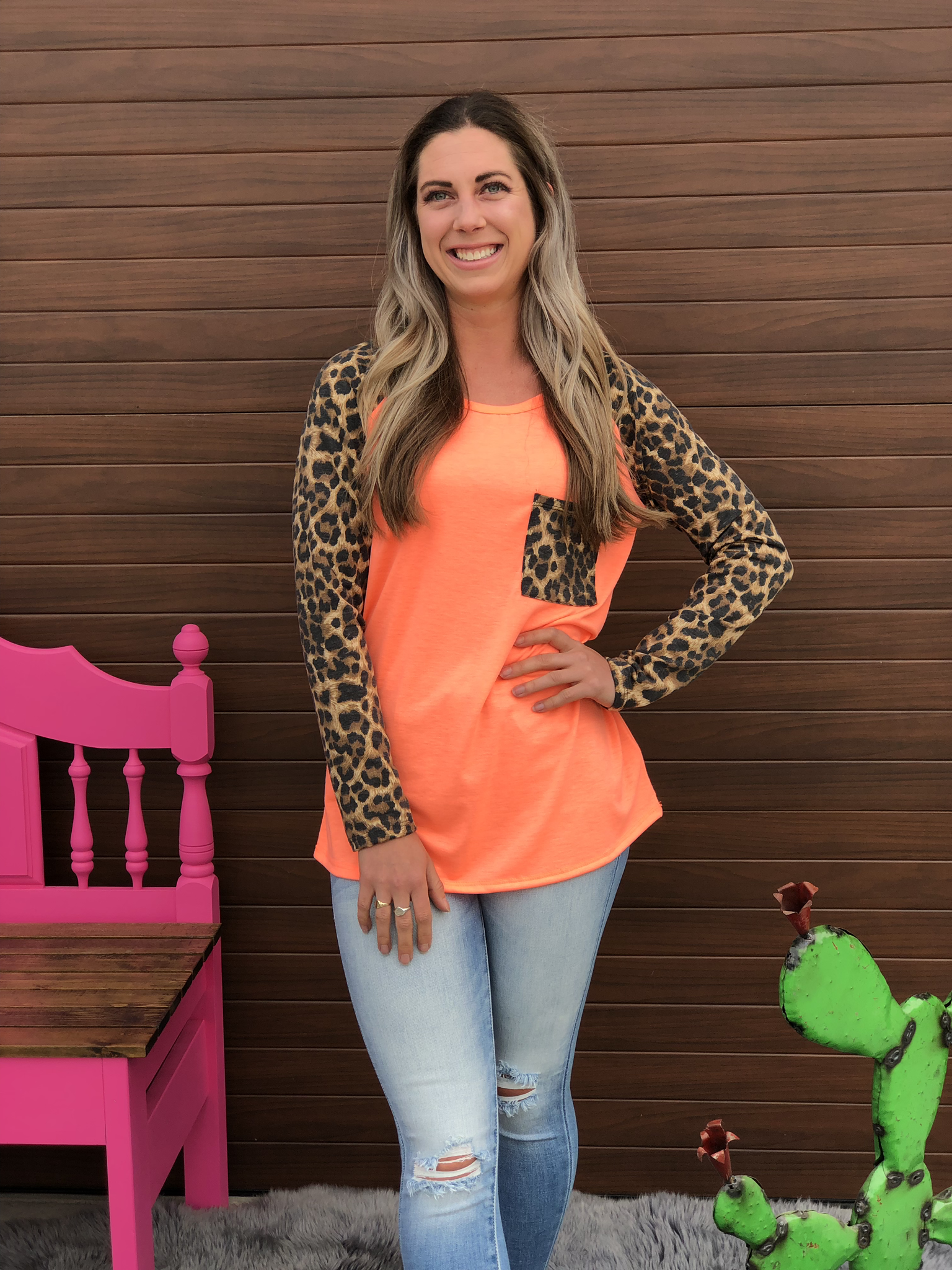 Neon Orange Cheetah Top 82575