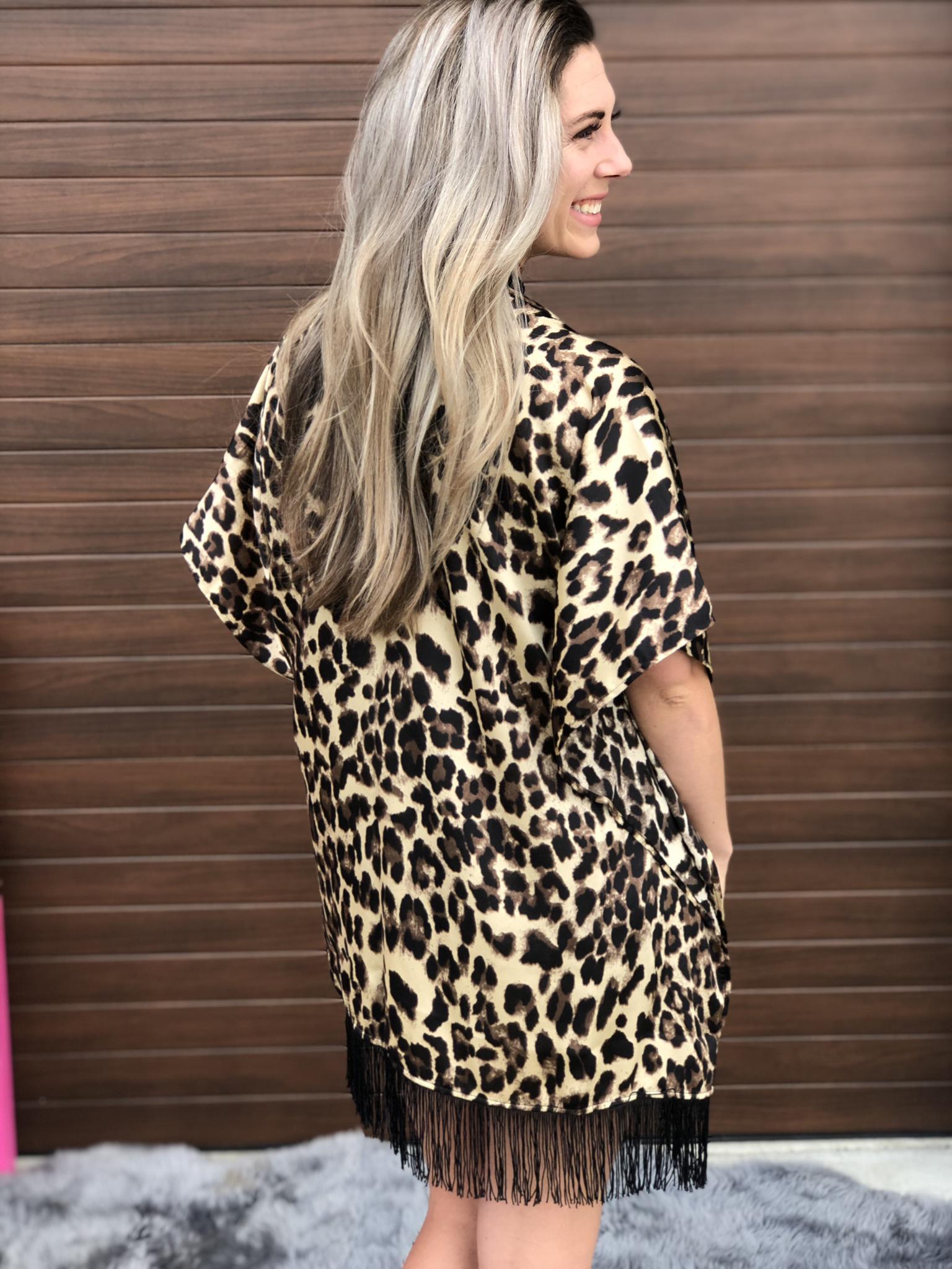 Leopard Fringe Kimono 82672