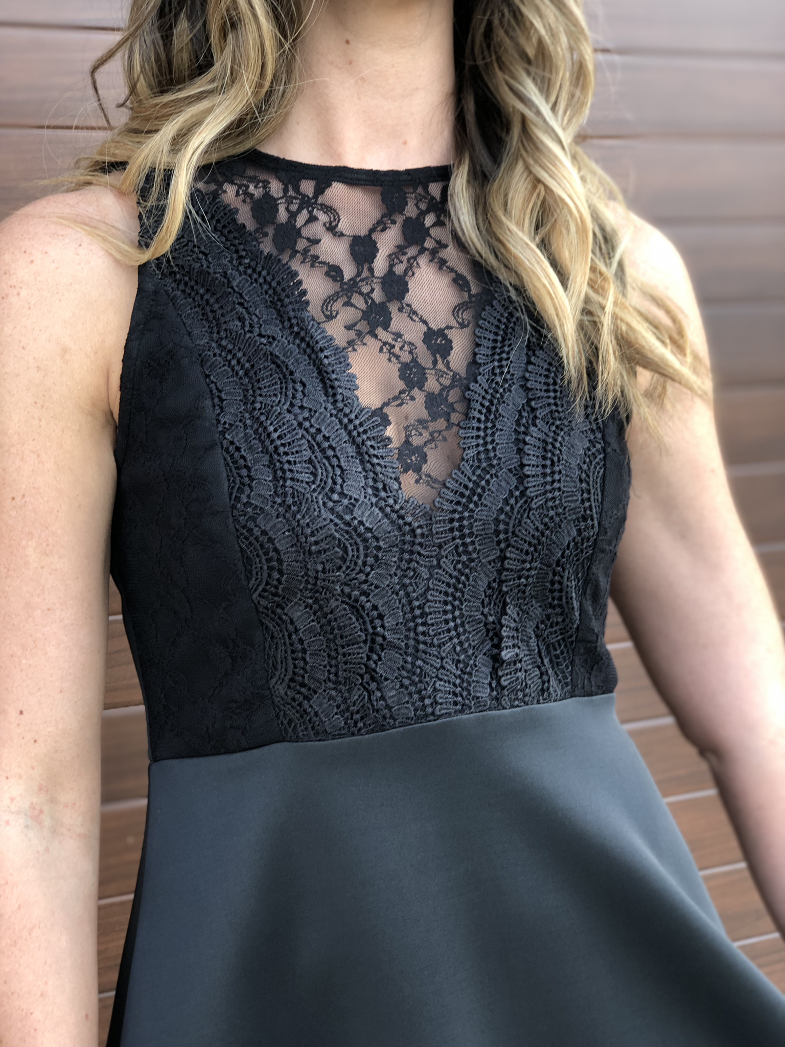 Lace Front Fit And Flair Dress