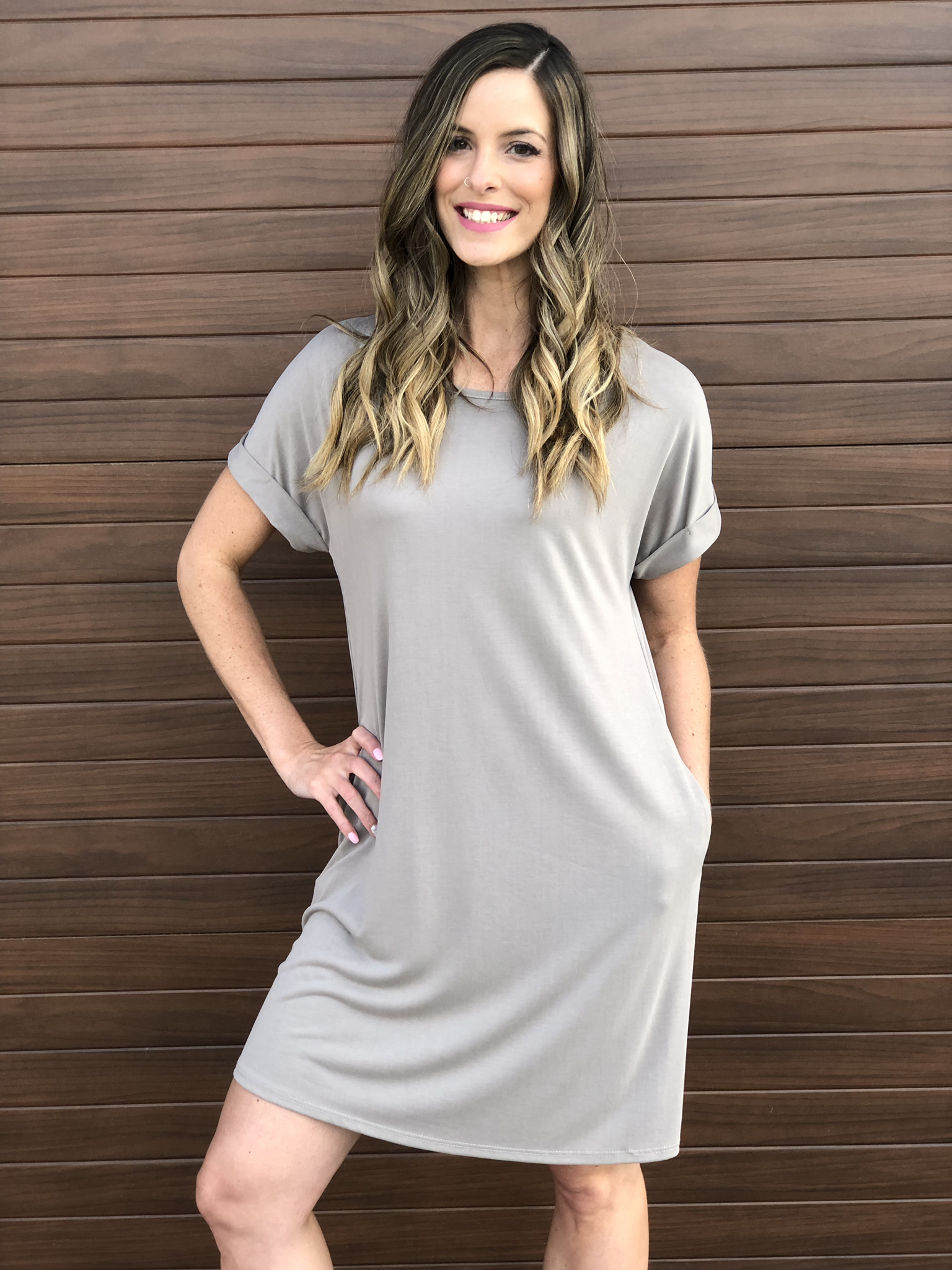 Taupe Tshirt Dress 82702