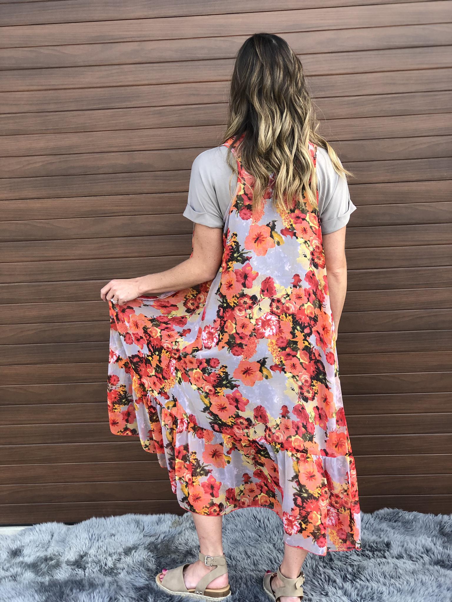 Taupe Floral Vest